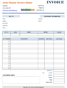 editable auto repair invoice template vehicle repair estimate template