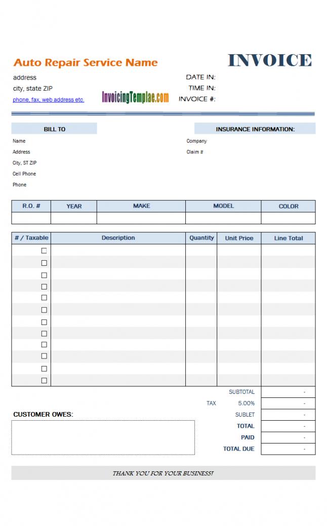 editable auto repair invoice template vehicle repair estimate template