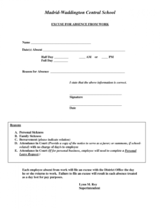 editable excuse for absence from work  doctors note template hospital note for work template example