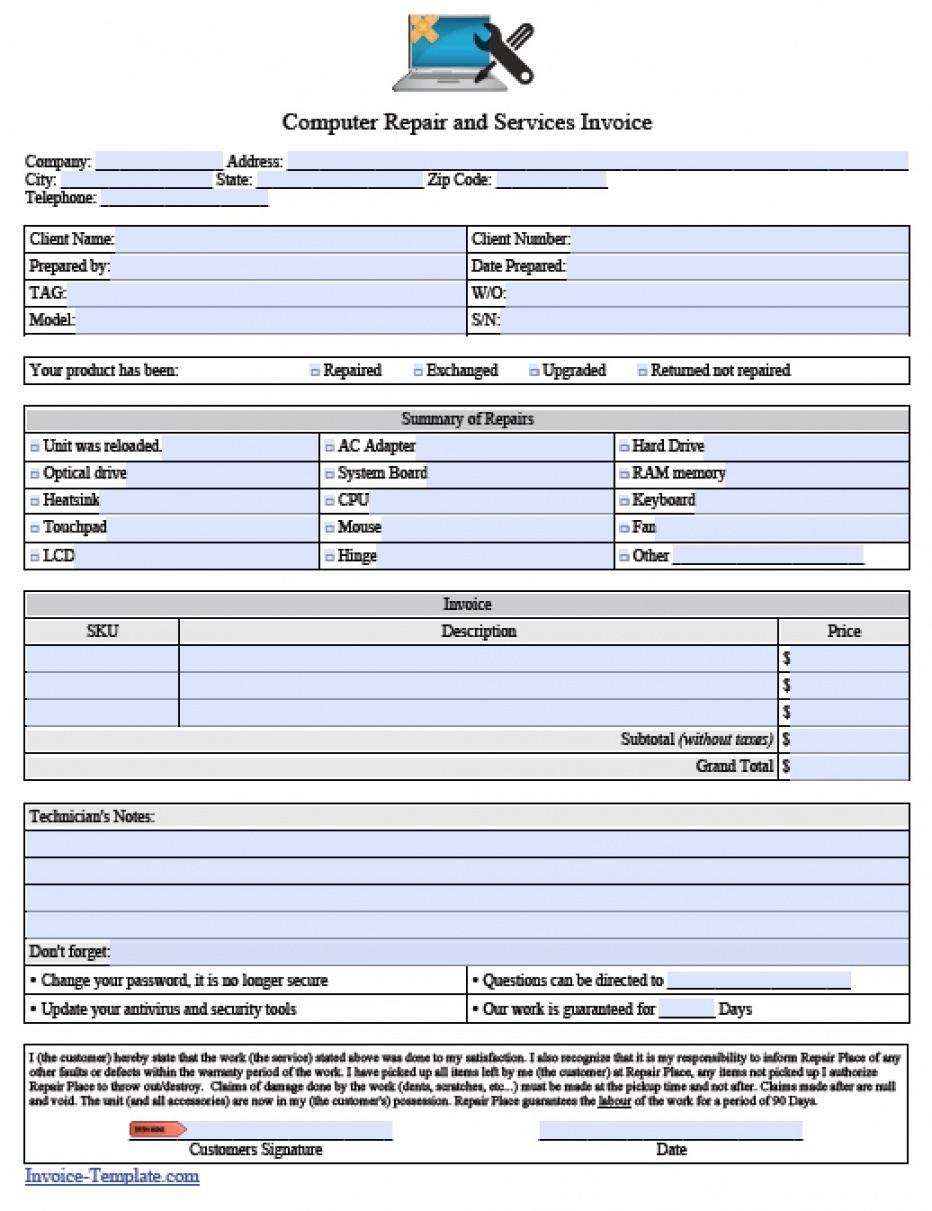 editable free computer repair service invoice template  pdf  word computer repair estimate template sample