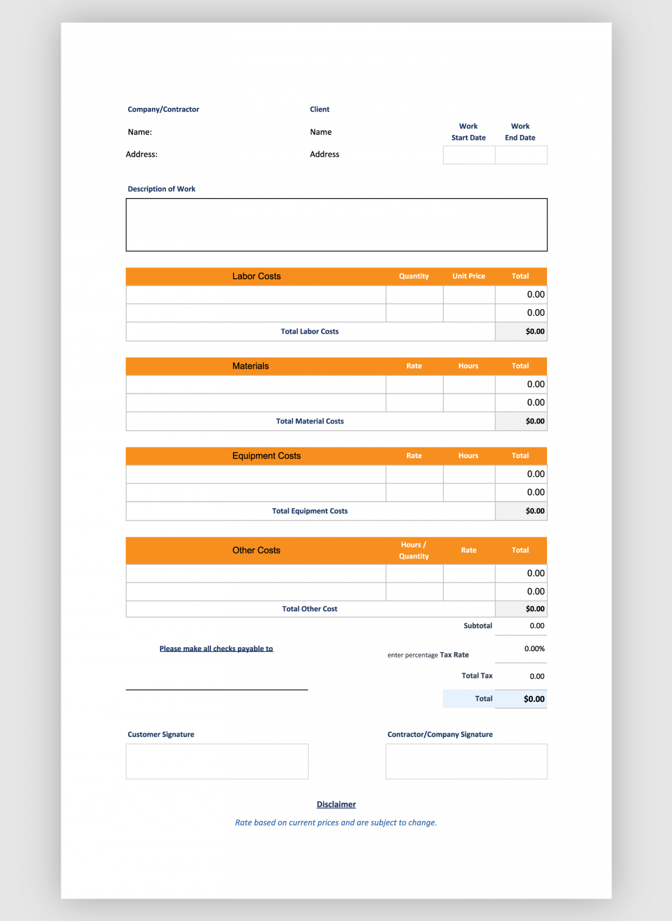editable free construction estimate template  bigrentz deck estimate template pdf