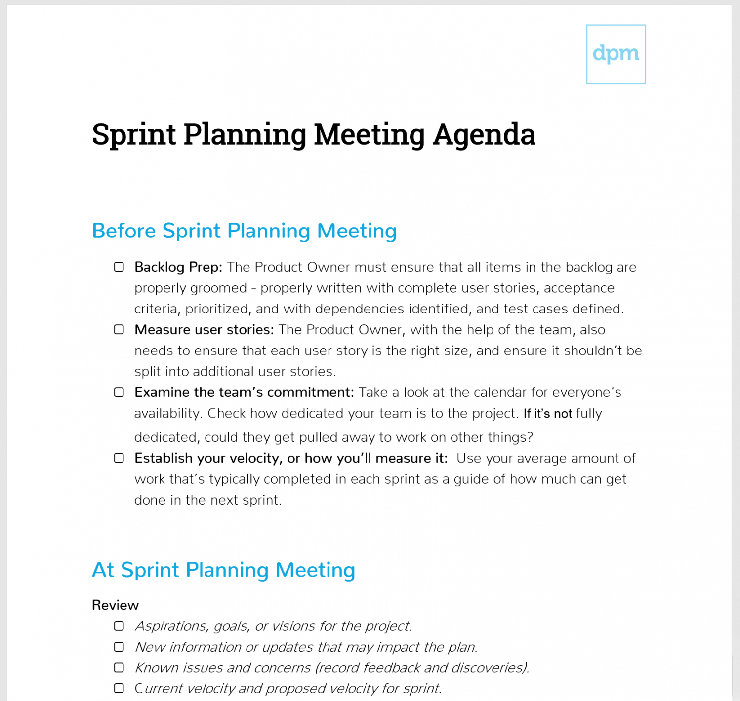 editable how to run a sprint planning meeting like a boss  meeting planning session agenda template