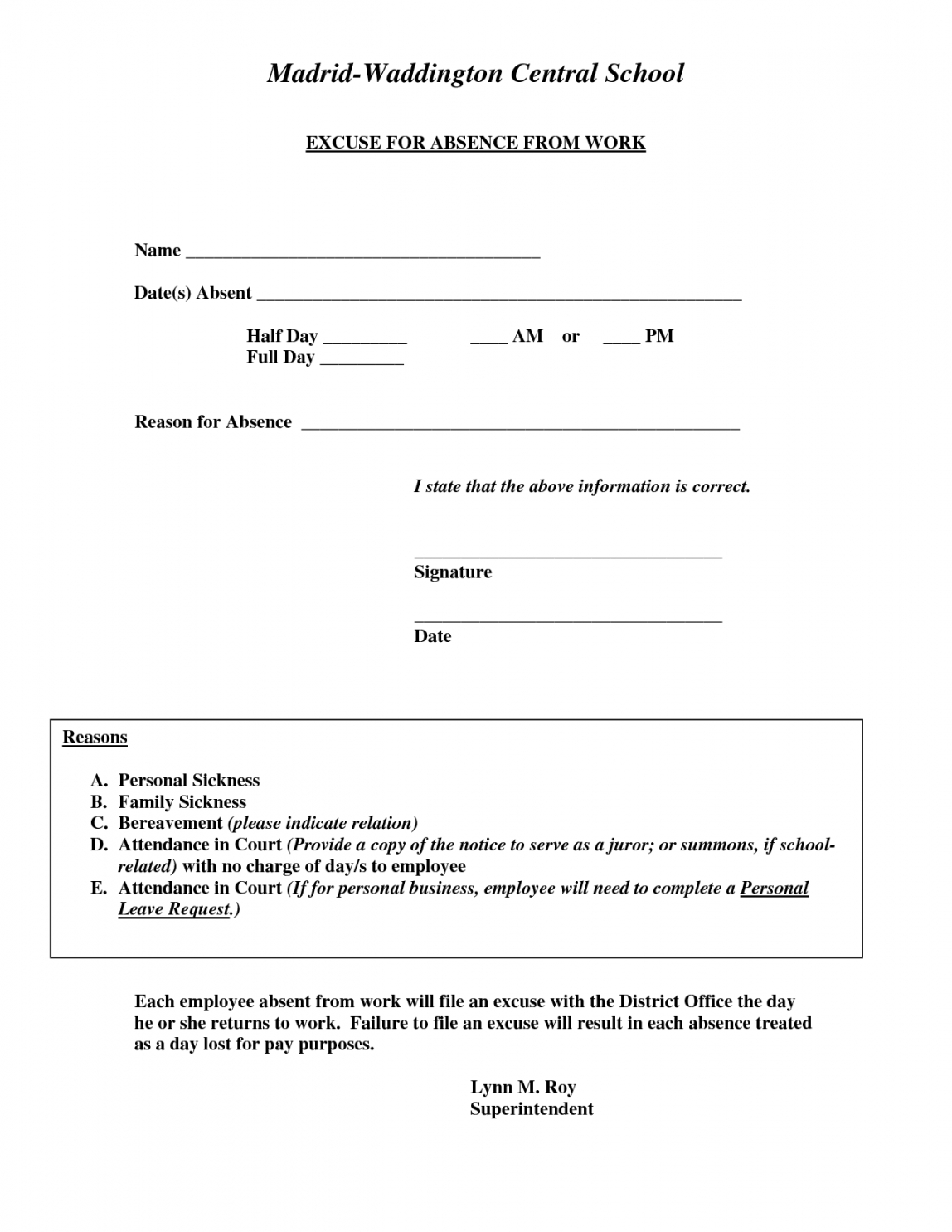excuse for absence from work  doctors note template doctors excuse note for work template word