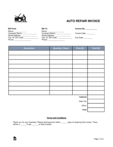 free auto body mechanic invoice template  word  pdf  eforms body repair estimate template