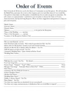 free dj mize entertainment services  wedding itinerary wedding wedding reception agenda template sample