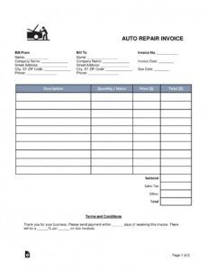 printable auto repair estimate template ~ addictionary vehicle repair estimate template excel