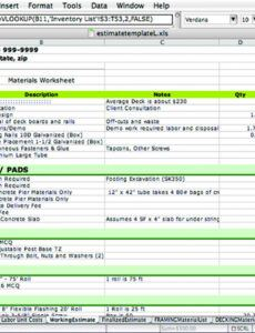 printable efficient job pricing with excel  jlc online deck estimate template doc