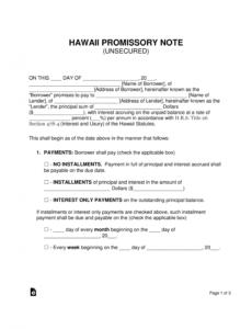 printable free hawaii unsecured promissory note template  word  pdf unsecured promissory note template sample