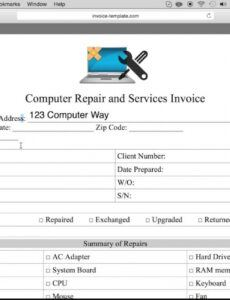 printable how to make a computer repair invoice  excel  word  pdf computer repair estimate template example