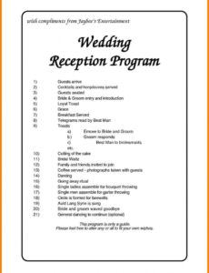 printable wedbridalsite  wedding reception program wedding wedding reception agenda template doc