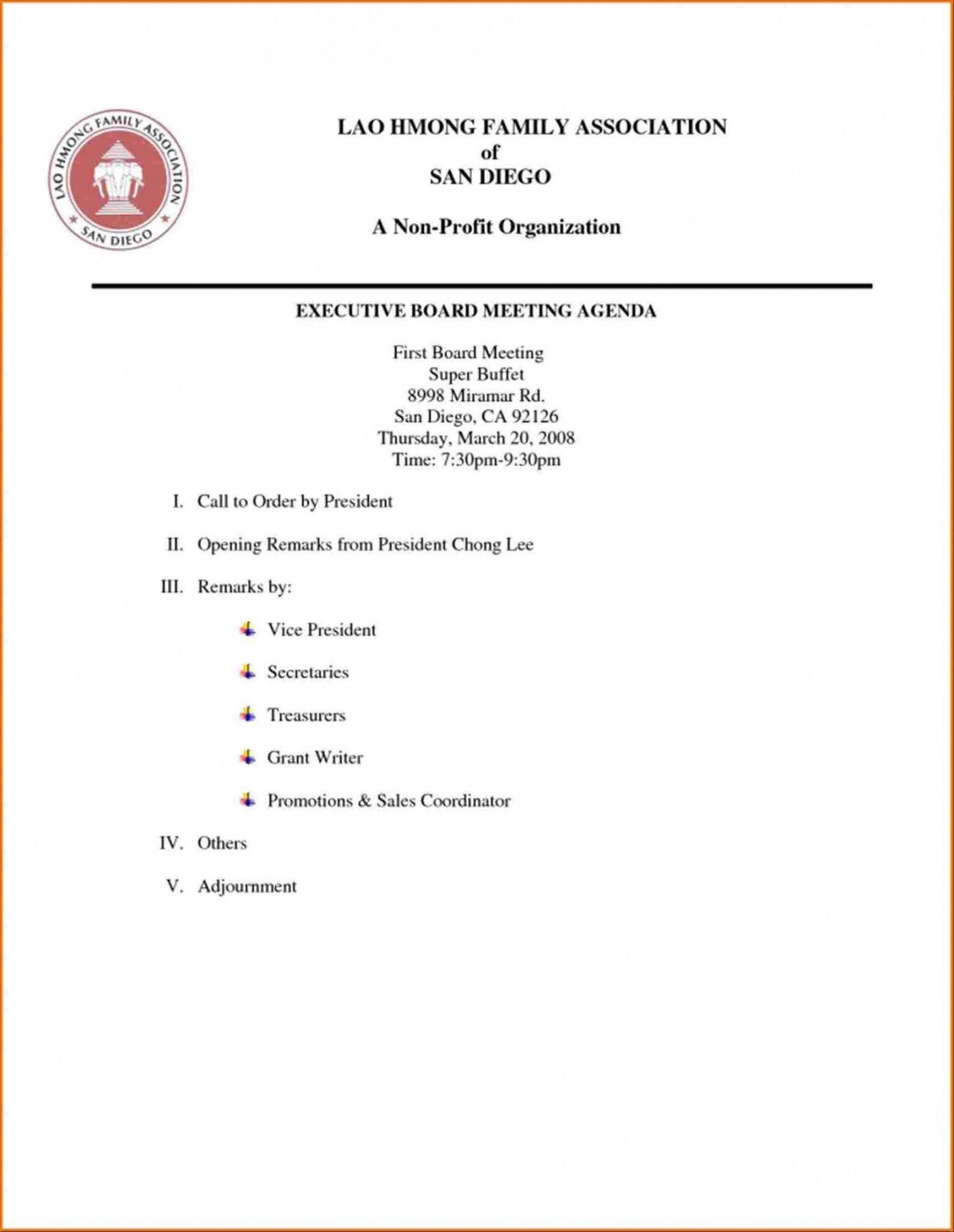 sample board meeting agenda template non profit board agenda template non profit word