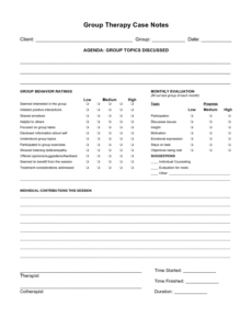 sample free case note templates  group therapy case notes group therapy note template pdf