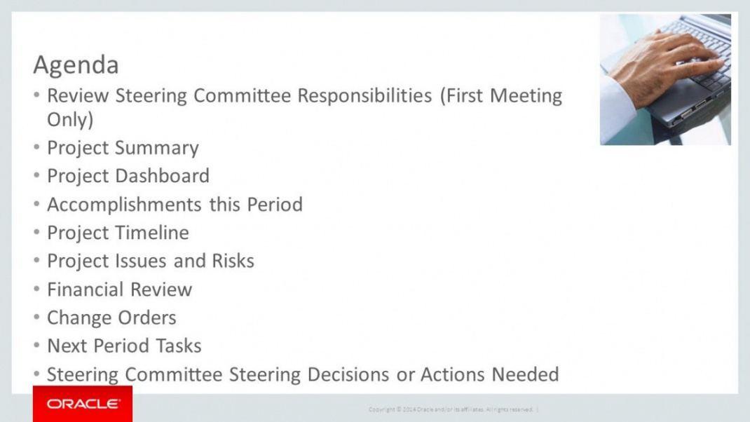 sample sample executive steering committee presentation ppt it steering committee agenda template sample