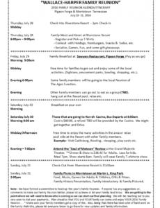 editable 2016 family reunion agendaitinerary  family reunion meet and greet meeting agenda