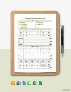 Commercial Construction Estimate Template  Sample
