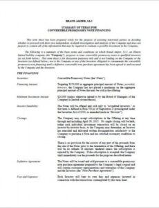 Commercial Promissory Note Template  Sample