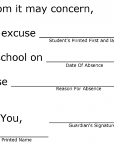 Costum Absence Note For School Word