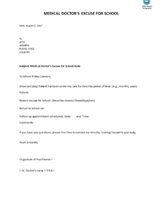 Costum Medical Excuse Note For School Pdf Example