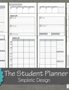 Costum Student Agenda Planner Template Doc