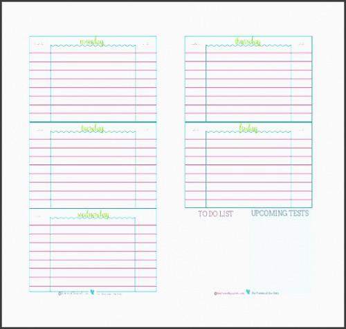 Costum Student Agenda Planner Template Pdf Example