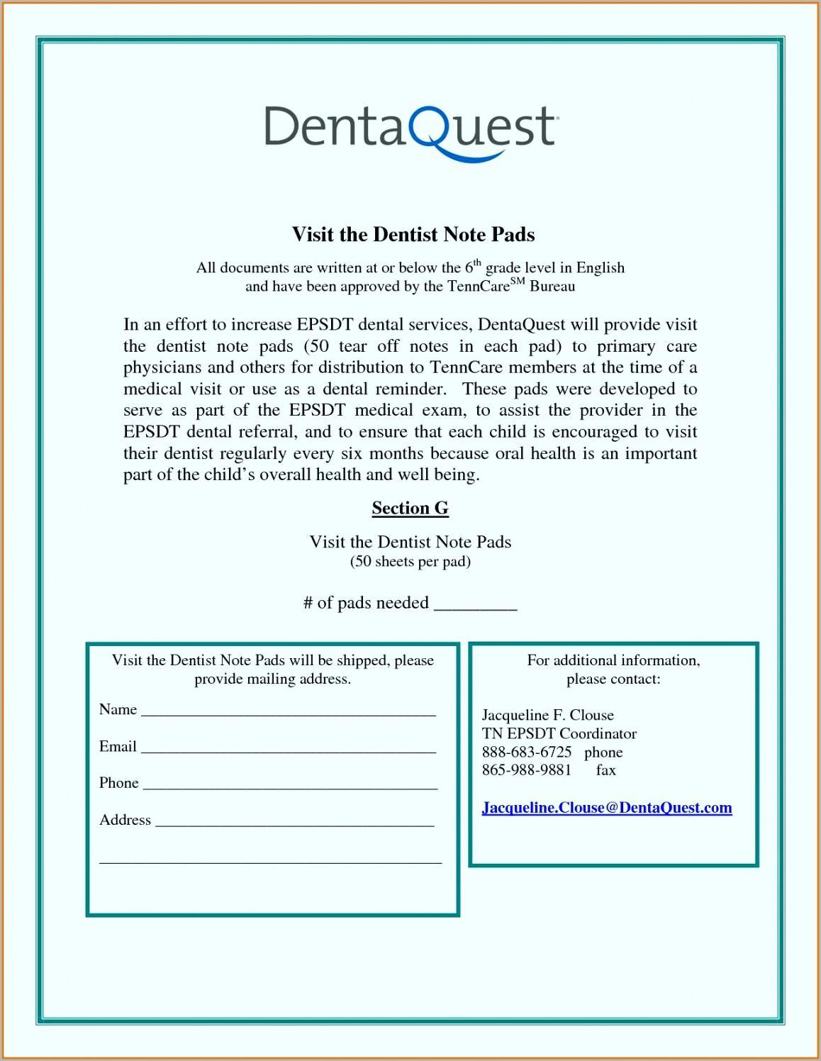 Dentist Note For School Word Sample