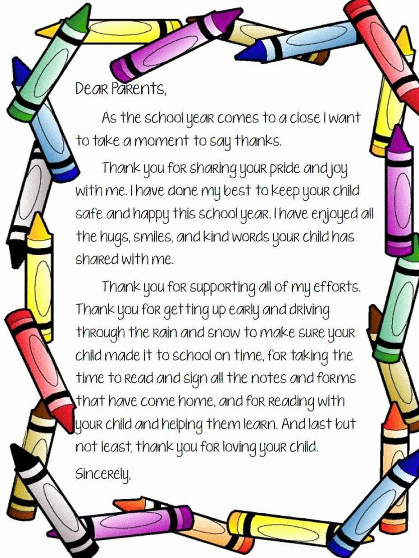 Free Thank You Note To Parents From School Pdf