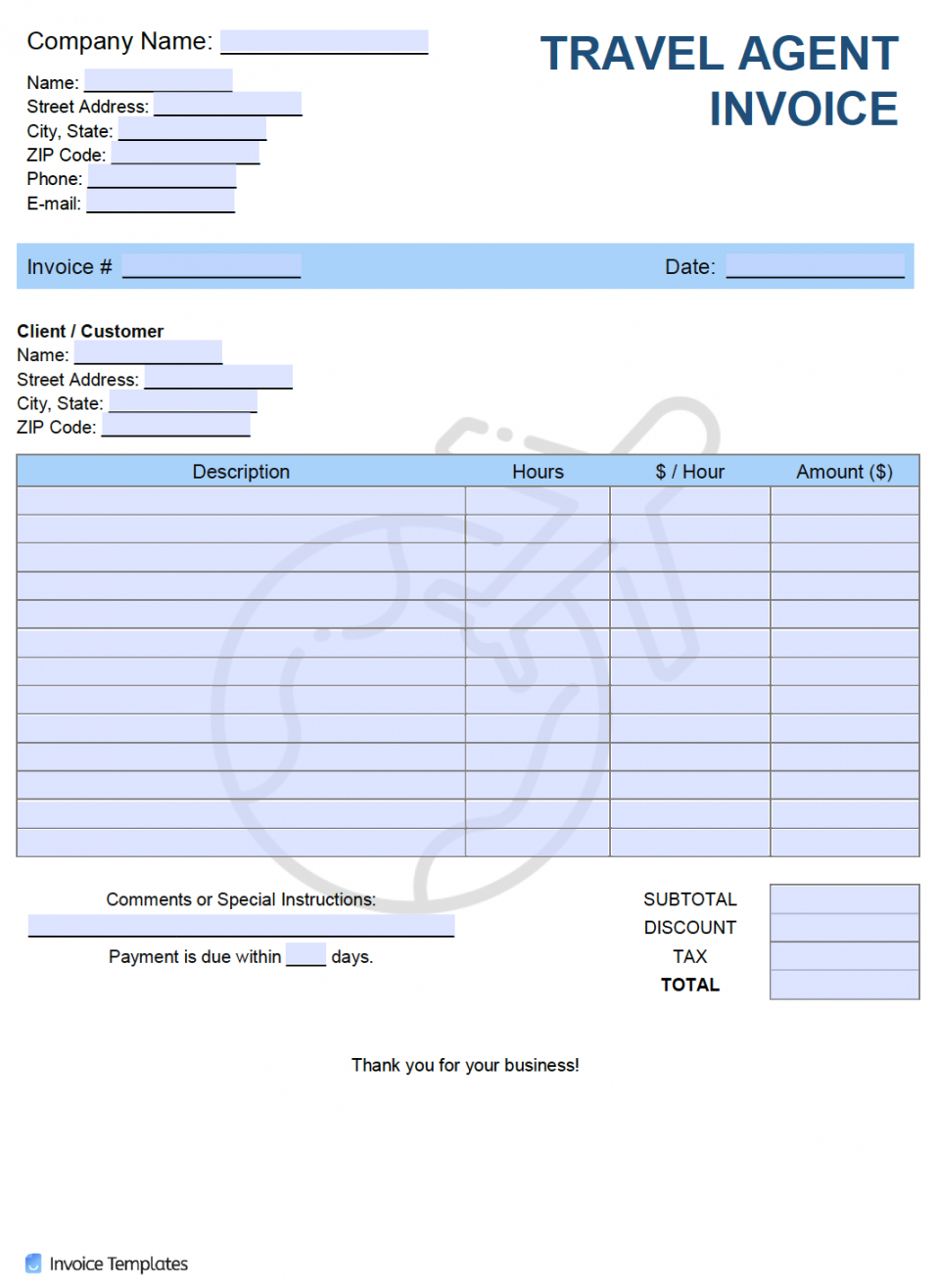 Free Travel Estimate Template Excel Example