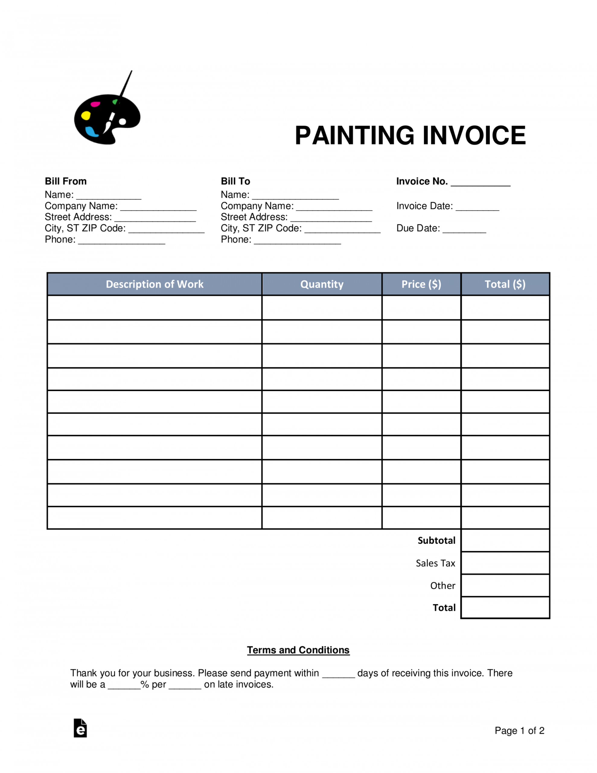 Printable Exterior House Painting Estimate Template Excel