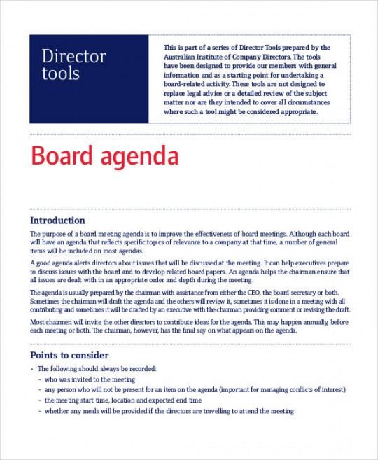 Printable School Board Meeting Agenda Template Word Sample