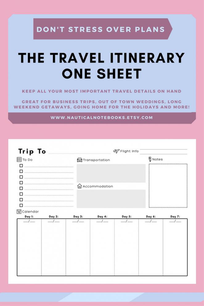 Printable Travel Agenda Template Excel