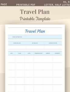 Printable Travel Estimate Template Doc Example