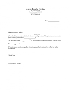 Professional Dentist Note For School Excel Sample