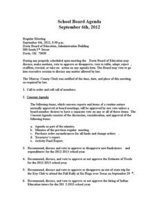 School Board Meeting Agenda Template Word