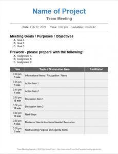 Best Team Meeting Agenda Template Word