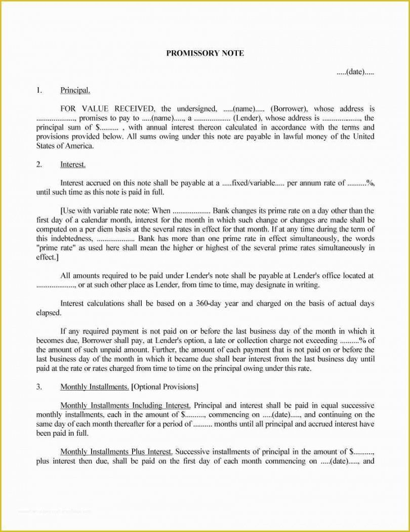 Costum Legally Binding Promissory Note Template Excel Example