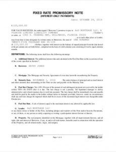 Editable Simple Promissory Note Template Excel Example
