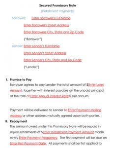 Printable Legally Binding Promissory Note Template Doc