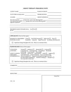 Printable Psychotherapy Progress Note Template Word