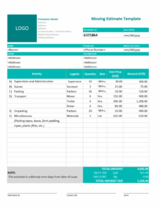 Professional Graphic Design Estimate Template Doc