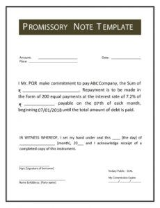 Professional Simple Promissory Note Template Pdf