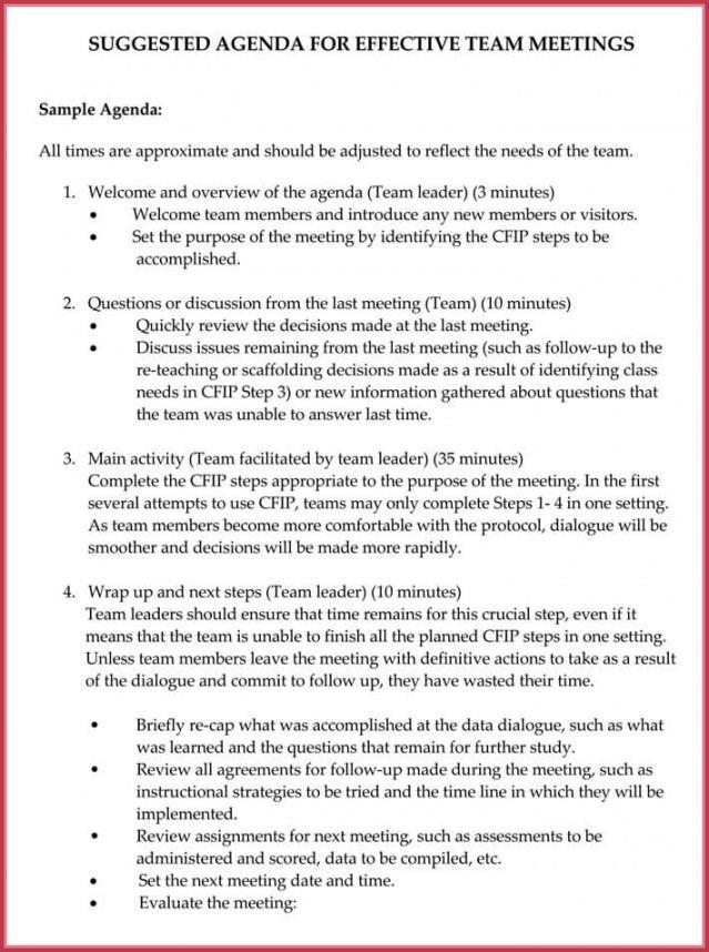 Professional Team Meeting Agenda Template Pdf