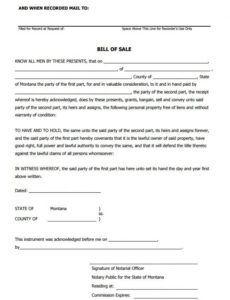 Auto Bill Of Sale Template Missouri Doc