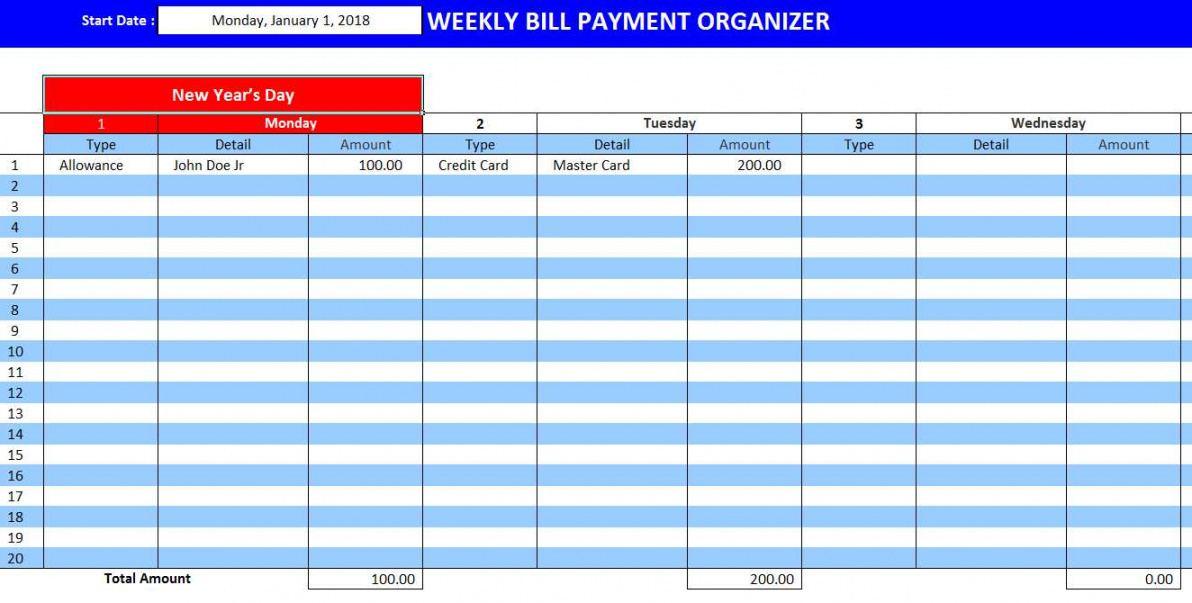 Best Bill Payment Planner Template  Sample