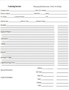 Best Catering Bill Invoice Template Pdf Sample
