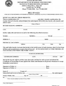 Best Mobile Home Bill Of Sale Template  Example