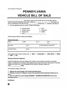 Best Vehicle Bill Of Sale Template Nj  Sample