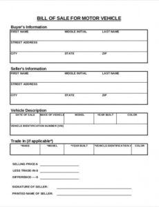 Bill Of Sale For Dirt Bike Template Excel
