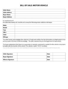 Bill Of Sale For Small Business Template Pdf
