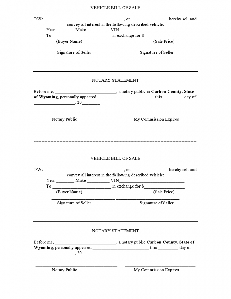 Bill Of Sale With Notary Template