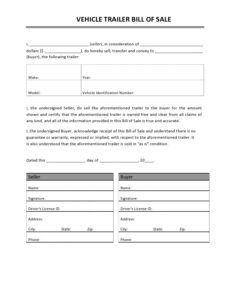 Camper Bill Of Sale Template Doc Example